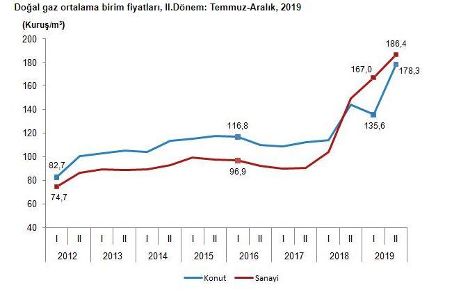 doğalgaz fiyat değişimi tüik 2020
