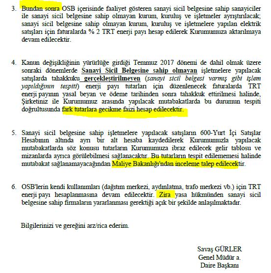trt payı osb sanayi sicil uygulaması elektrik payı uygulaması