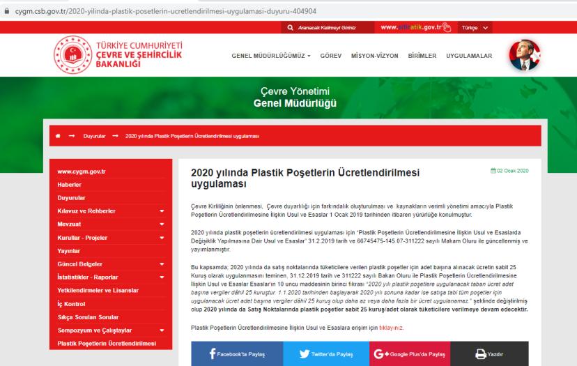 poşet 2020 yılında da 25 kuruş olarak uygulanmaya devam edecek bakanlık duyurusu.PNG