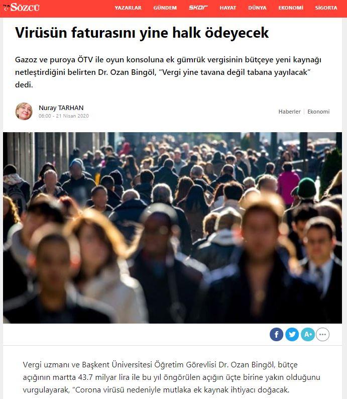 virüsün faturasını yine halk ödeyecek sözcü gazetisi ozan bingöl 21 nisan 2020