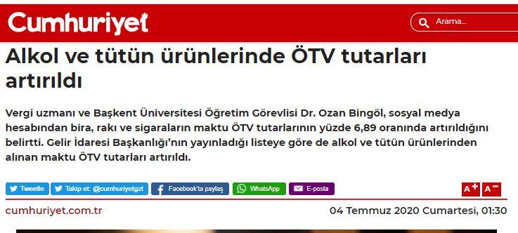 SİGARA VE ALKOLLÜ İÇECEKLER ÖTV TUTARLARI ARTIRILDI TEMMUZ 2020 Cumhuriyet gazetesi