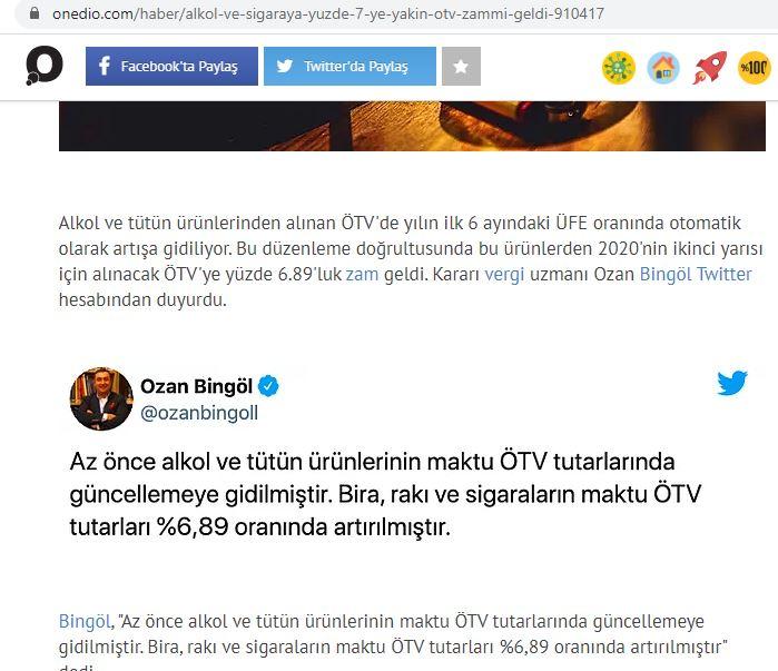 SİGARA VE ALKOLLÜ İÇECEKLER ÖTV TUTARLARI ARTIRILDI TEMMUZ 2020 onedio