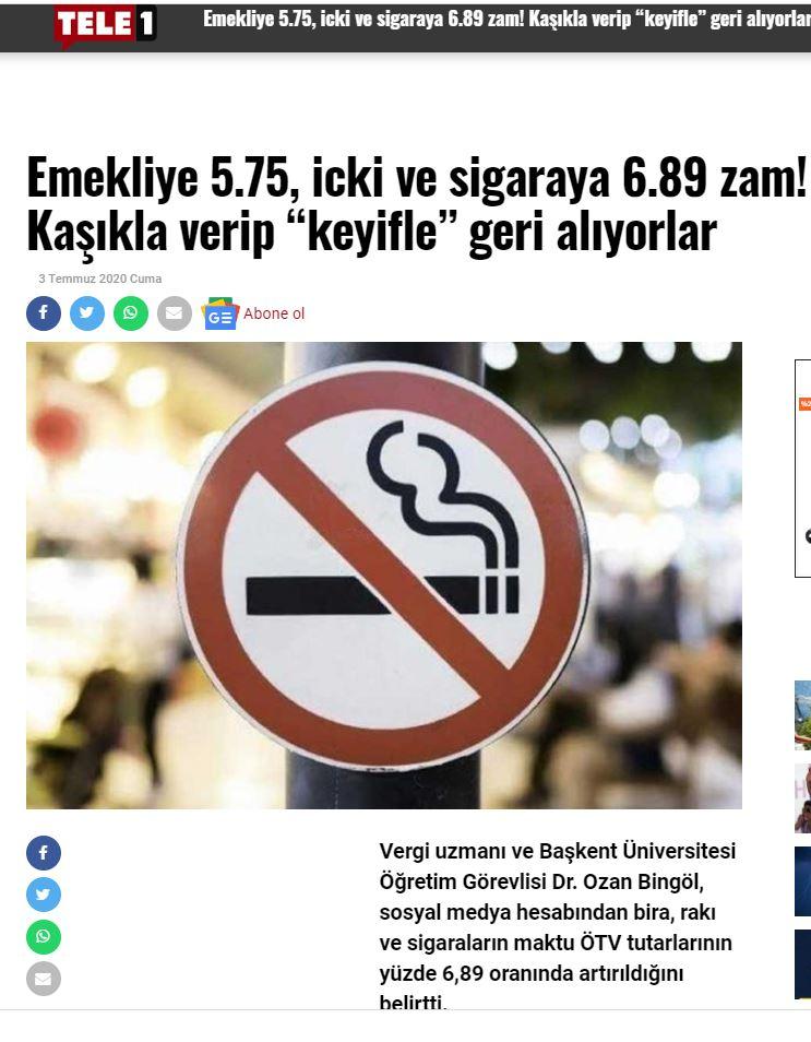 SİGARA VE ALKOLLÜ İÇECEKLER ÖTV TUTARLARI ARTIRILDI TEMMUZ 2020 TELE1